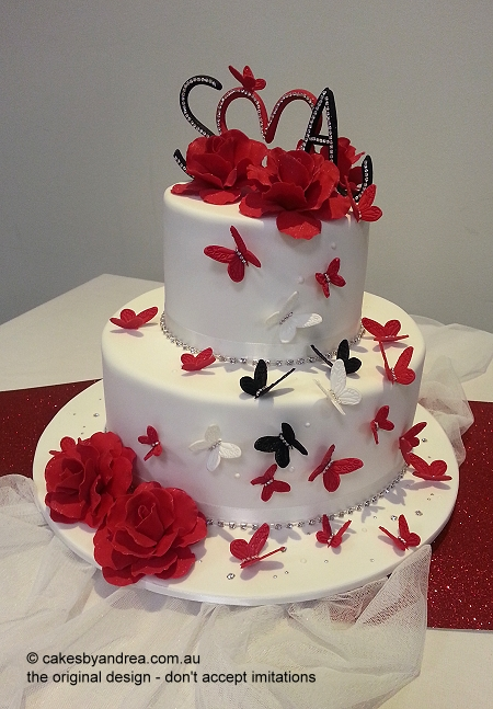 wedding-cake-red-roses-red-black-white-butterflies