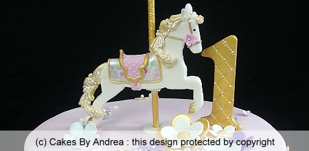 1st-birthday-cake-carousel-horse-gold-pink
