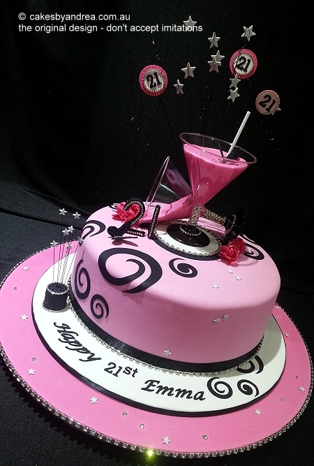 21st-birthday-cake-pink-martini-glass-roses-bling