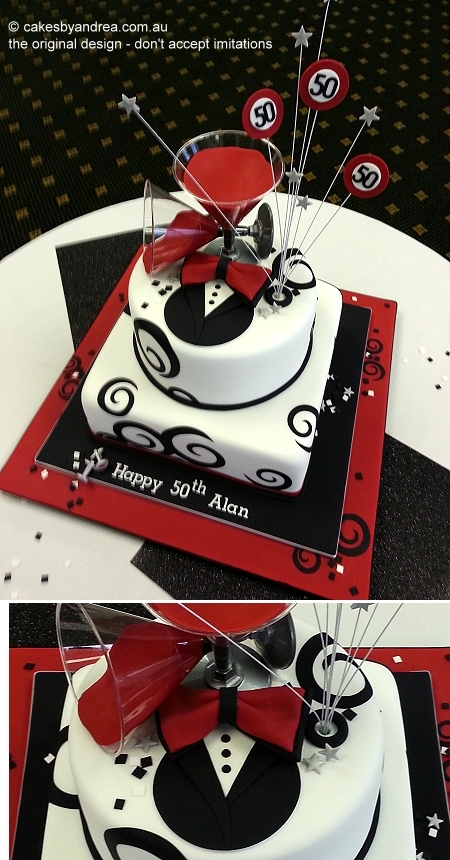50th-birthday-male-tuxedo-martini-red-black-2-tier