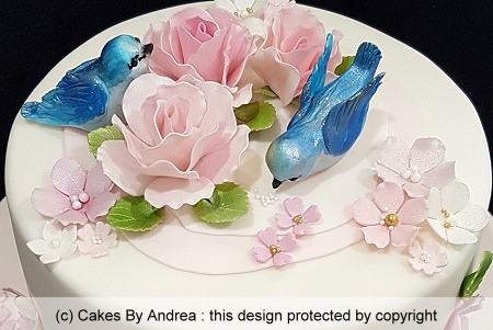 milestone birthday cake with Bluebirds and roses