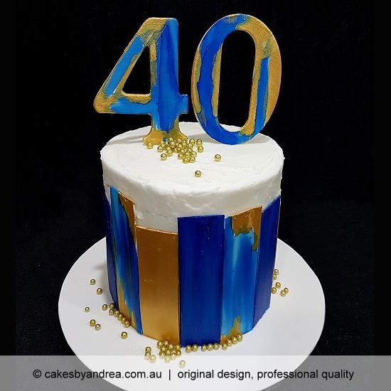 budget birthday cake guys girls blue gold stripes