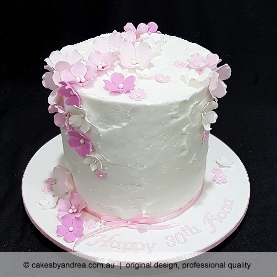 budget celebration cake mothers day cake pink and white blossoms