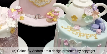 custom-birthday-cakes-set-mini-cakes-teapot-stripes-blossoms