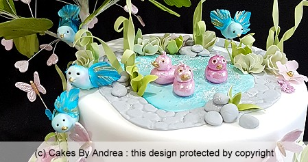 kids-birthday-cake-pond-birds-ducks-tree-butterflies