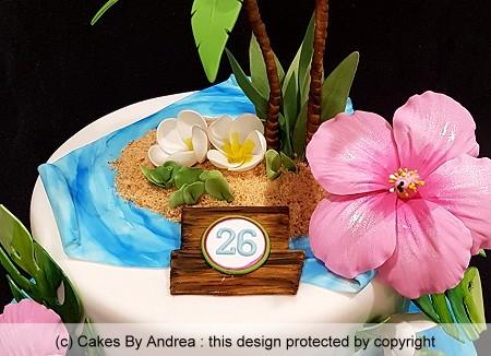 tropical birthday cake hibiscus palm trees